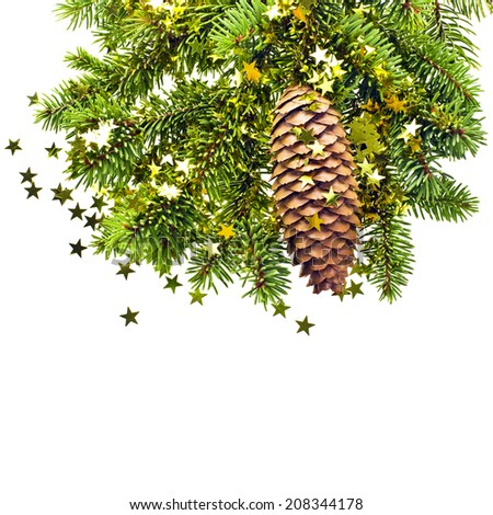 Christmas decoration  green tree branch with knob, strewn with yellow small stars  isolated on white background - stock photo