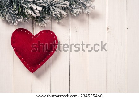 Christmas decoration handmade heart-shaped. Space for text - stock photo