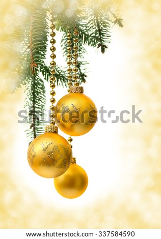 Christmas decoration (hanging balls) on abstract background - stock photo