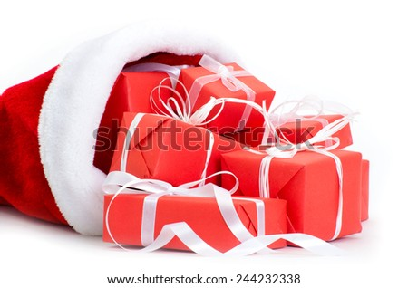 Christmas decoration hanging over white background - stock photo