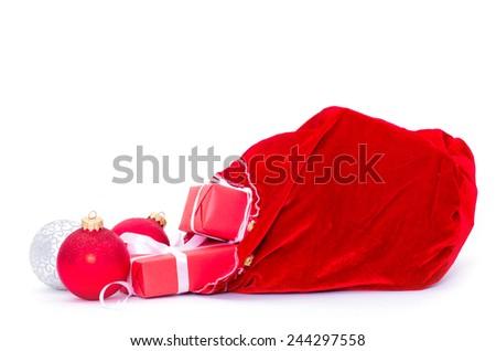 Christmas decoration hanging over white background - stock photo