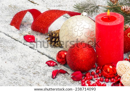 Christmas decoration hanging over wooden background - stock photo