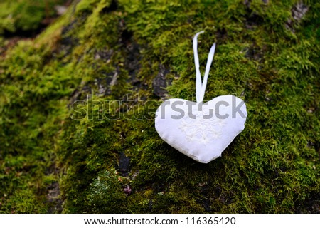 Christmas decoration heart. Background of moss - stock photo
