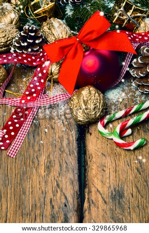 Christmas decoration, Holiday background with free space for text on a wooden board