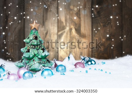 Christmas decoration, Holiday background with wood