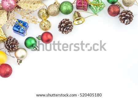 Christmas Decoration. Holiday Decoration lsolated on White Background. Top View. space for text your