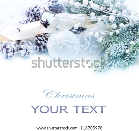 Christmas Decoration. Holiday Decorations isolated on a white background - stock photo