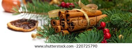 Christmas Decoration. Holiday Decorations Isolated on White Background. Panoramic image. - stock photo