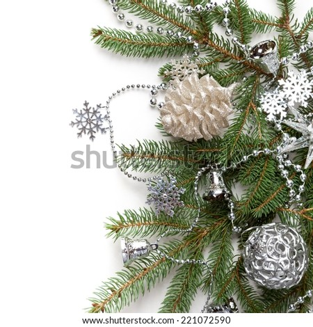 Christmas Decoration. Holiday Decorations Isolated on White Background. Selective focus. - stock photo