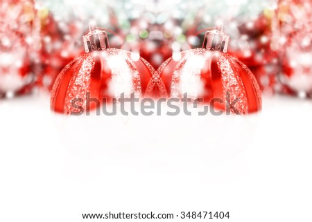Christmas Decoration. Holiday Decorations on bokeh Background; Christmas ball - stock photo