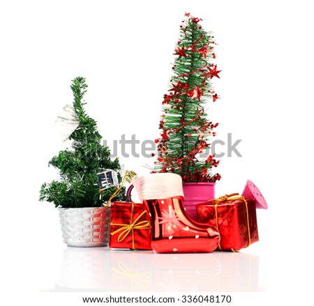 Christmas Decoration. Holiday Decorations on White Background - stock photo