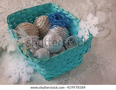 Christmas decoration  in blue box. Winter holidays concept. - stock photo