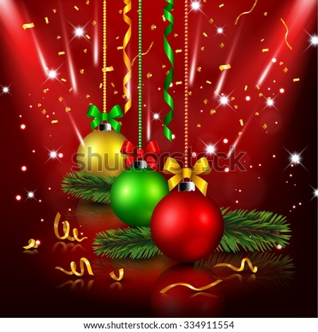 Christmas decoration in red background - stock photo