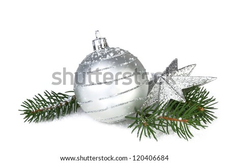christmas decoration in silver color, isolated on white background - stock photo