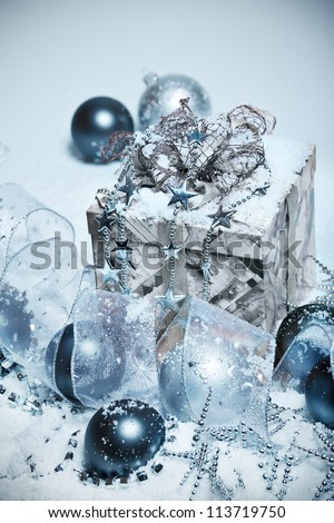 Christmas decoration in snow - stock photo