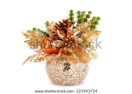 Christmas decoration in vase isolated on white background. - stock photo
