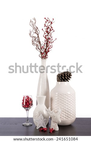 Christmas decoration indoor with snow on white background - stock photo