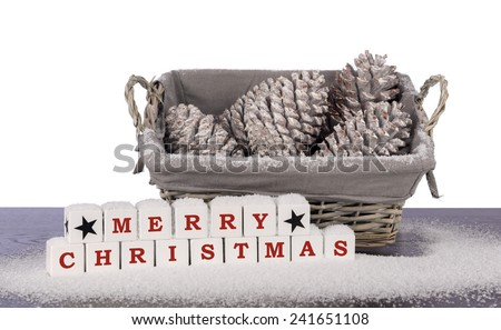 Christmas decoration indoor with snow white background - stock photo