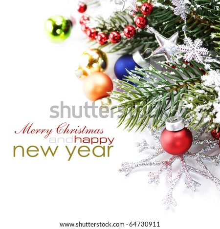 Christmas decoration isolated on the white background with sample text - stock photo