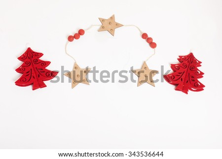 christmas decoration isolated , white background for post card greetings, toy design on tree macro close up - stock photo