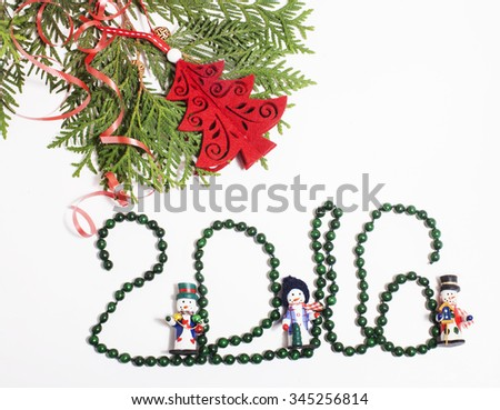 christmas decoration isolated , white background for post card greetings, toy design on tree macro xmas vintage - stock photo