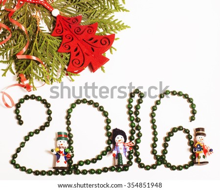 christmas decoration isolated , white background for post card greetings, toy design on tree macro vintage stylish red staff - stock photo