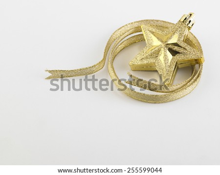 christmas decoration item star and ribbon