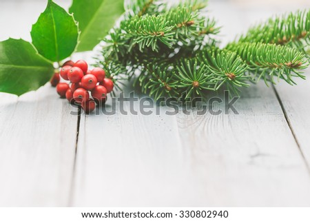 Christmas decoration of holly berry and fir tree branch - stock photo