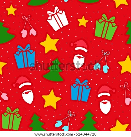 Christmas decoration of pattern from traditional festive elements. Seamless texture. Raster illustration