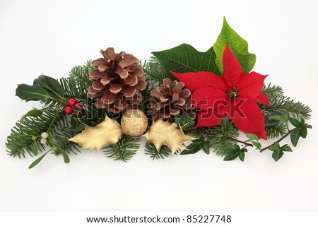 Christmas decoration of red poinsettia flower, mistletoe, ivy, gold holly and glitter bauble with spruce fir leaf sprigs and pine cones isolated over white background. - stock photo