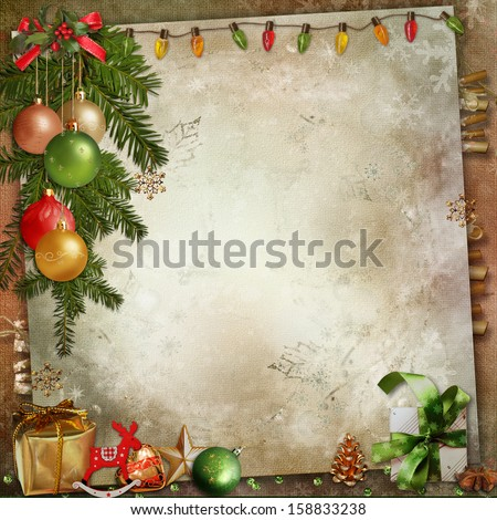 Christmas decoration on a vintage background - stock photo