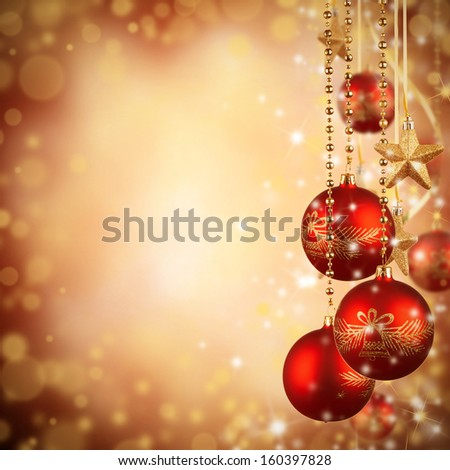 Christmas decoration on blur gold background