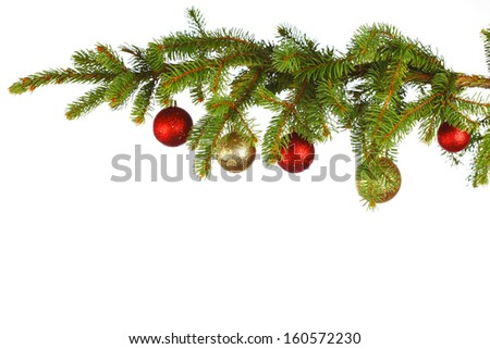 Christmas decoration on fir branch  isolated on white background - stock photo