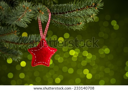 Christmas decoration on green bakground - stock photo