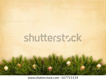 Christmas decoration on old paper background. Raster version. - stock photo
