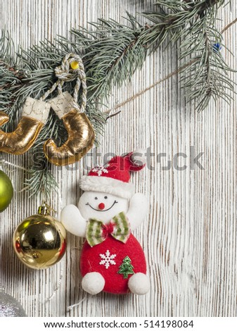 Christmas decoration on old wooden backgraund