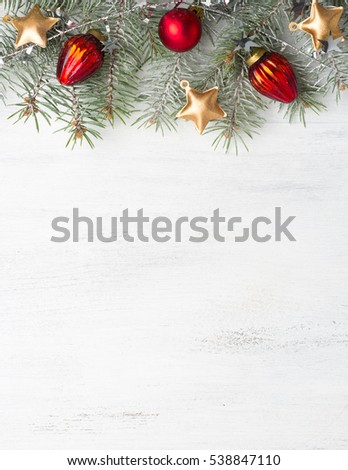 Christmas decoration on old wooden shabby background.