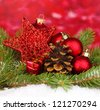 Christmas decoration on red background - stock photo