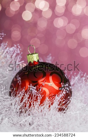 Christmas decoration on sparkles background - stock photo