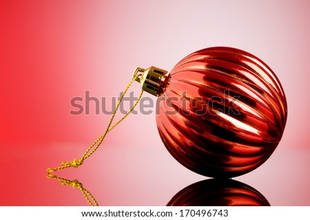 Christmas decoration on the reflective background - holiday concept