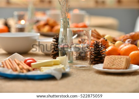 Christmas Decoration On Snack Table Stock Photo 522875059 - Shutterstock