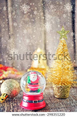 Christmas decoration on the wooden table, christmas background - stock photo