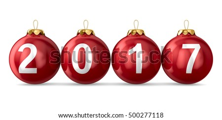 Christmas decoration on white background. 2017 year. Isolated 3D image
