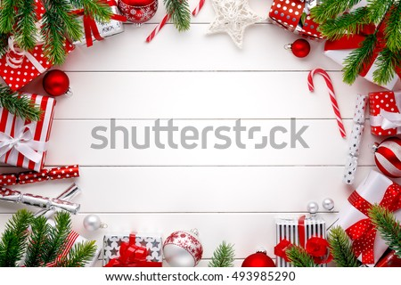 Christmas decoration on white wooden board