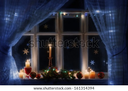 Christmas decoration on window - stock photo