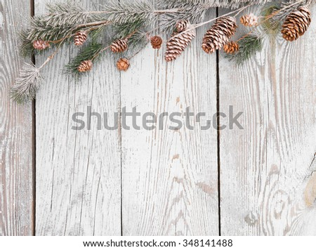 Christmas decoration on wood background - stock photo