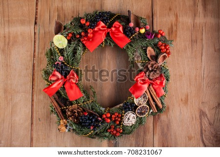 Christmas decoration on wood board. Preparation for the holiday