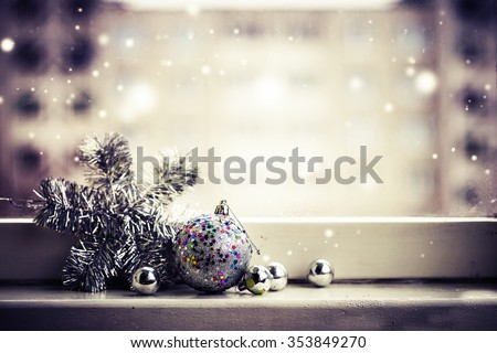 Christmas decoration on  wooden background / selective focus - stock photo
