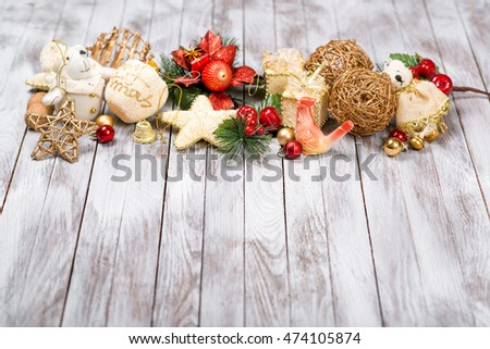 Christmas decoration on wooden background. Winter holidays concept. New Year of rooster.