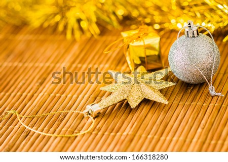 Christmas decoration on wooden plate